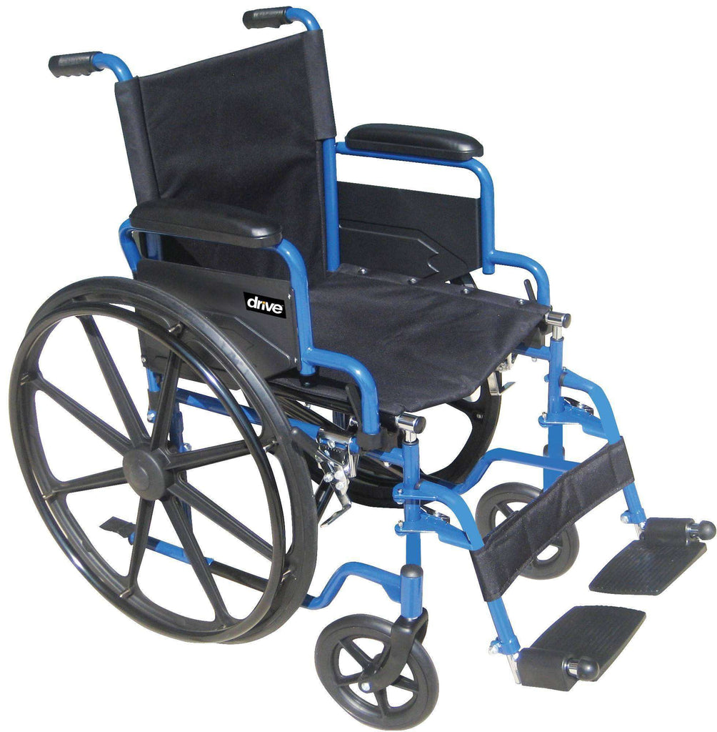 "Drive Medical Blue Streak 18"" Wheelchair with Footrests BLS18FBD-SF - Advanced Healthmart"