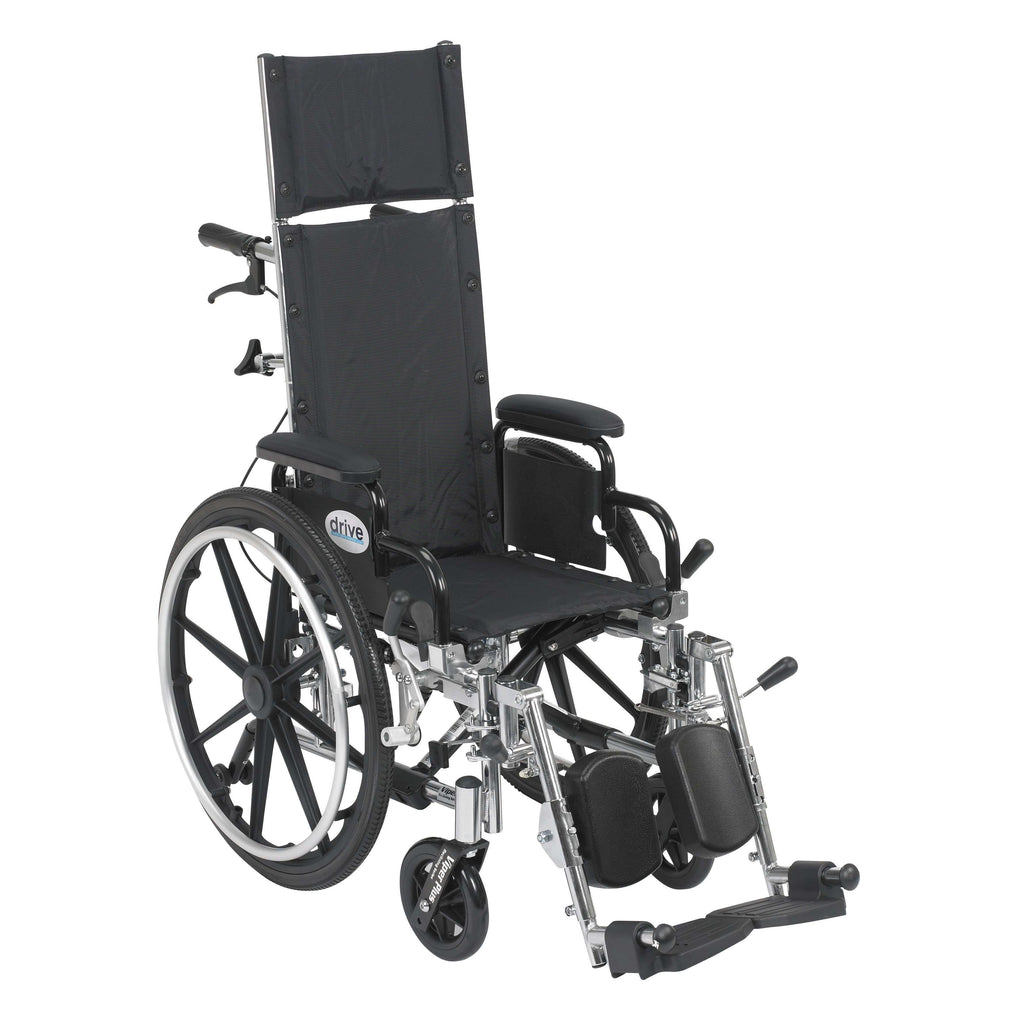 "Drive pl412rbdda Viper Plus Light Weight Reclining Wheelchair with Elevating Leg Rests and Flip Back Detachable Arms, 12"" Seat - Advanced Healthmart"