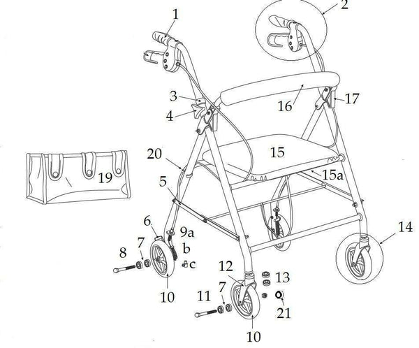 All Replacement parts for Drive R726 series rollator