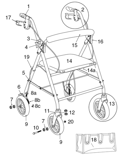 All replacement parts for Drive R800 series rollator