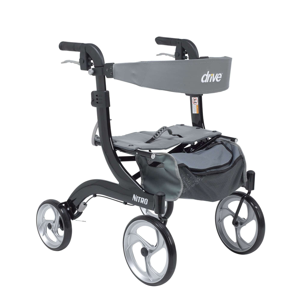 Drive rtl10266bk-h Nitro Euro Style Walker Rollator, Hemi Height - Advanced Healthmart