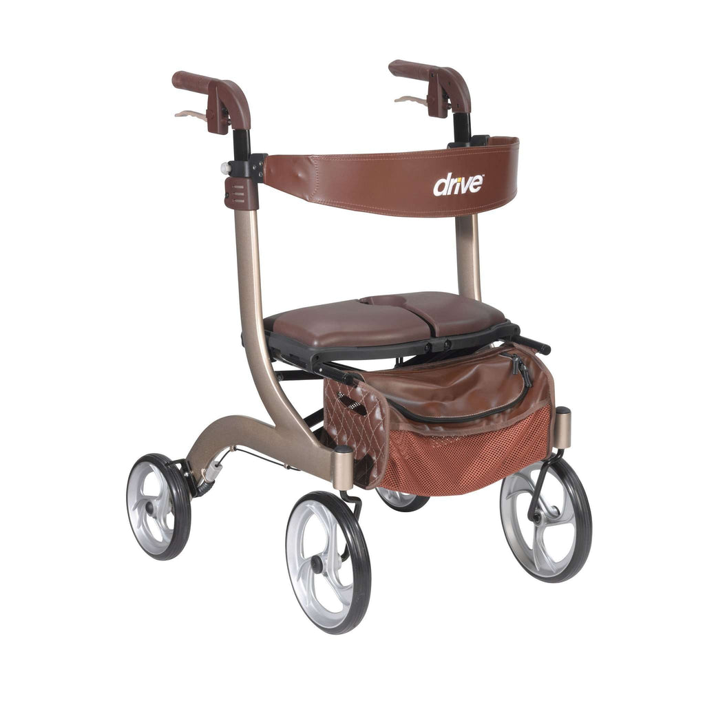 Drive Medical RTL10266CH-HS Nitro Deluxe Euro Style Rollator with rigged seat, Champagne - Advanced Healthmart