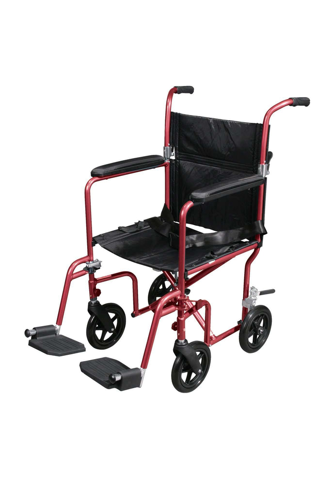 Drive rtlfw19rw-rd Flyweight Lightweight Transport Wheelchair with Removable Wheels, Red - Advanced Healthmart