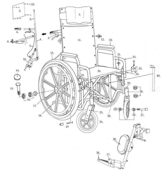 Drive Deluxe Sentra Full-Reclining Wheelchair Replacement