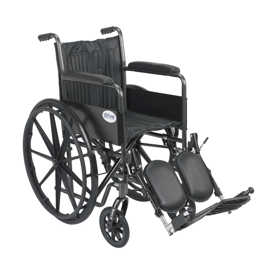 "Drive ssp218fa-elr Silver Sport 2 Wheelchair, Non Removable Fixed Arms, Elevating Leg Rests, 18"" Seat - Advanced Healthmart"