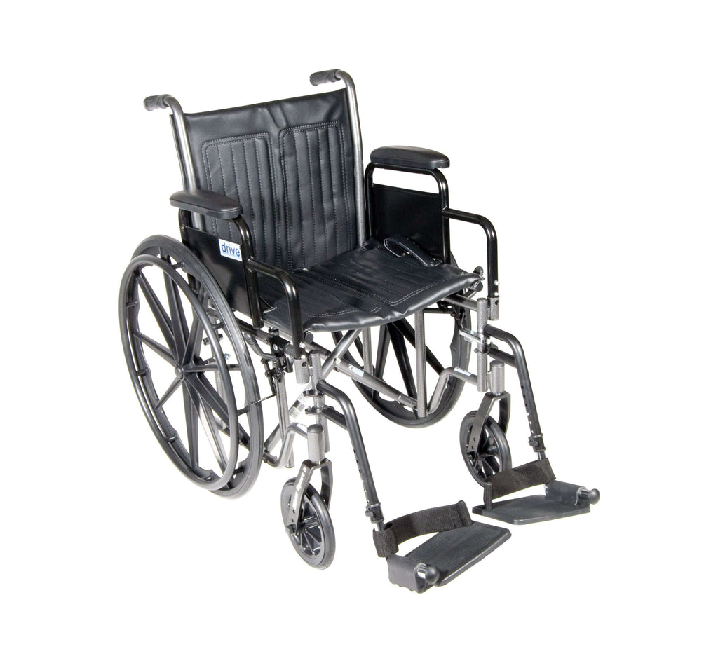 "Drive ssp220dda-sf Silver Sport 2 Wheelchair, Detachable Desk Arms, Swing away Footrests, 20"" Seat - Advanced Healthmart"