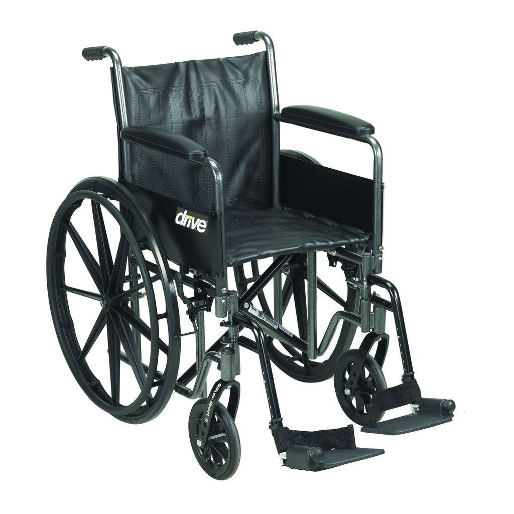 "Drive ssp220dfa-sf Silver Sport 2 Wheelchair, Detachable Full Arms, Swing away Footrests, 20"" Seat - Advanced Healthmart"