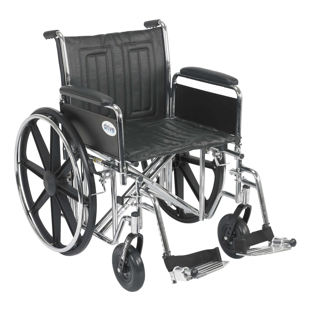"Drive std20ecdfahd-sf Sentra EC Heavy Duty Wheelchair, Detachable Full Arms, Swing away Footrests, 20"" Seat - Advanced Healthmart"