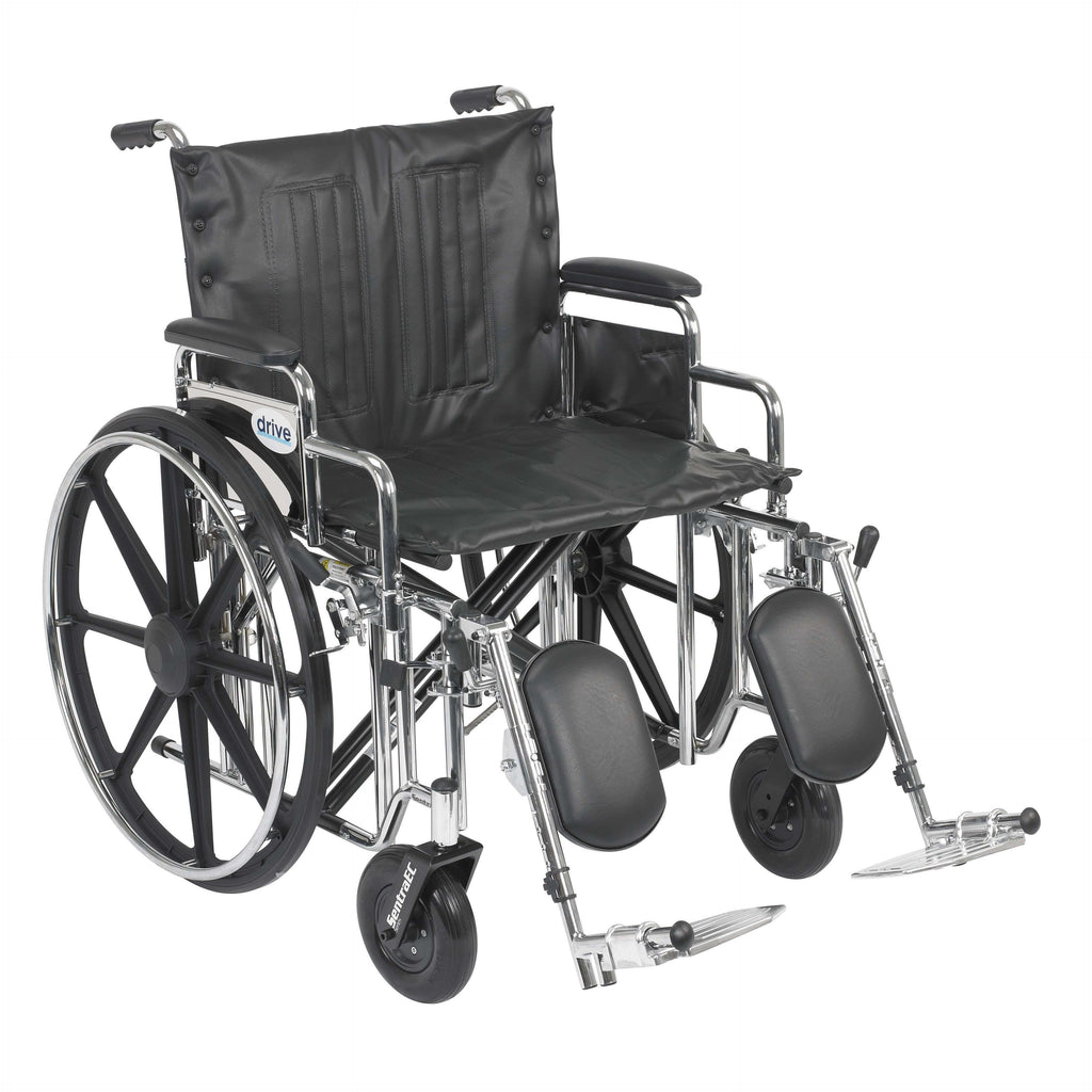 "Drive std22dda-elr Sentra Extra Heavy Duty Wheelchair, Detachable Desk Arms, Elevating Leg Rests, 22"" Seat - Advanced Healthmart"