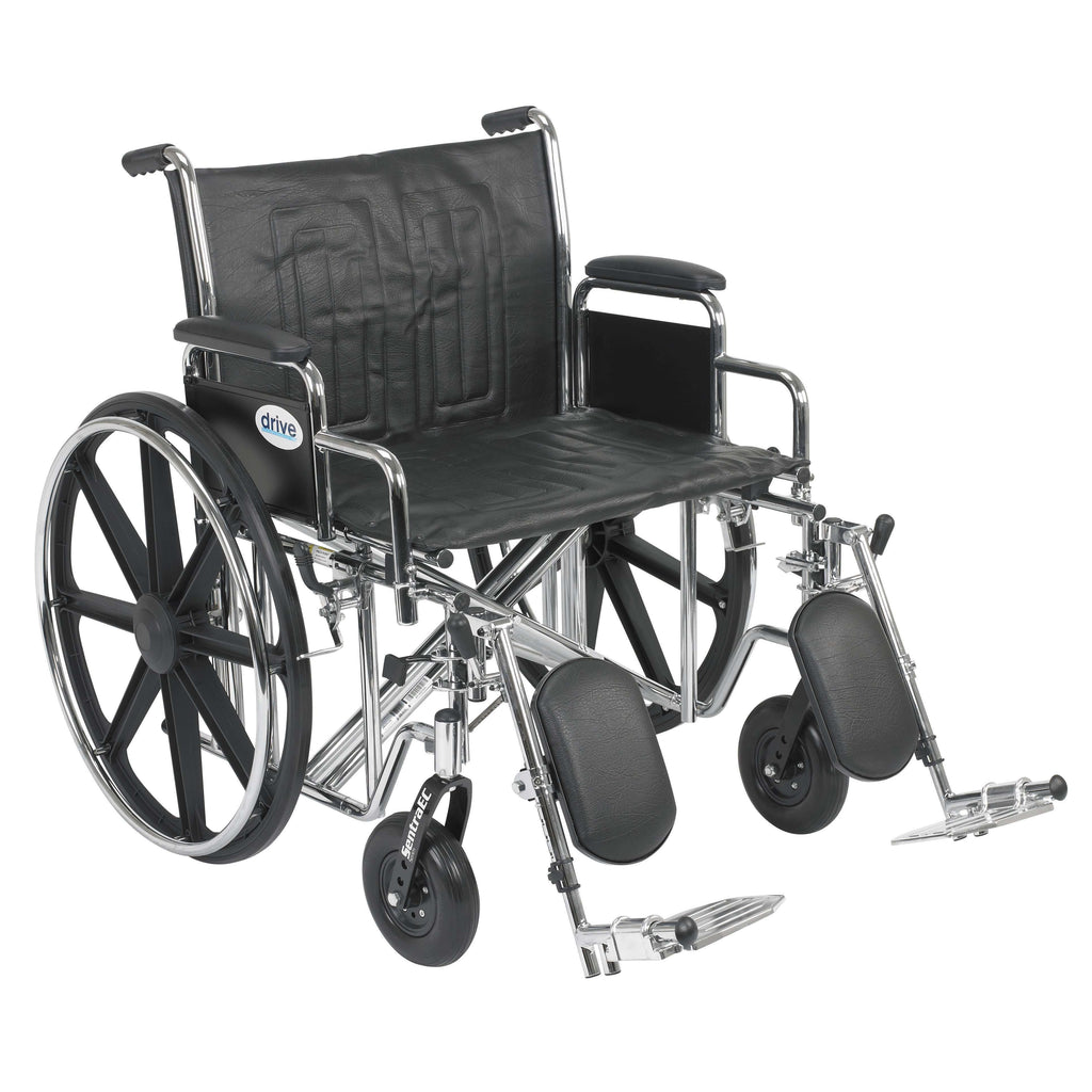 "Drive std24ecdda-elr Sentra EC Heavy Duty Wheelchair, Detachable Desk Arms, Elevating Leg Rests, 24""Seat - Advanced Healthmart"