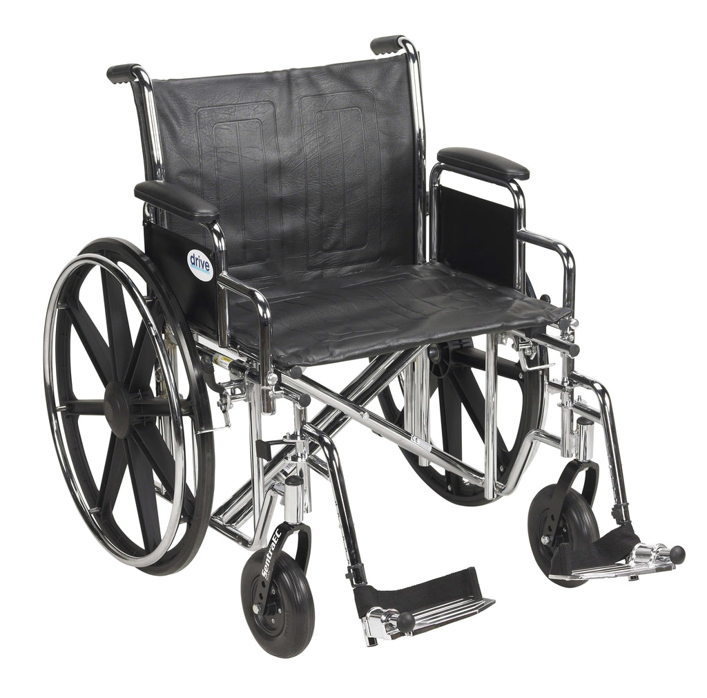 "Drive std24ecdda-sf Sentra EC Heavy Duty Wheelchair, Detachable Desk Arms, Swing away Footrests, 24"" Seat - Advanced Healthmart"