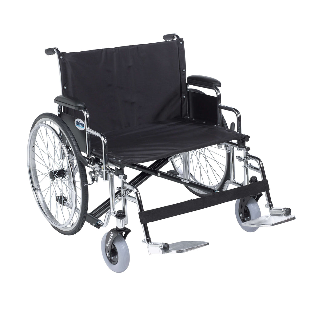 "Drive std26ecdda-sf Sentra EC Heavy Duty Extra Wide Wheelchair, Detachable Desk Arms, Swing away Footrests, 26"" Seat - Advanced Healthmart"