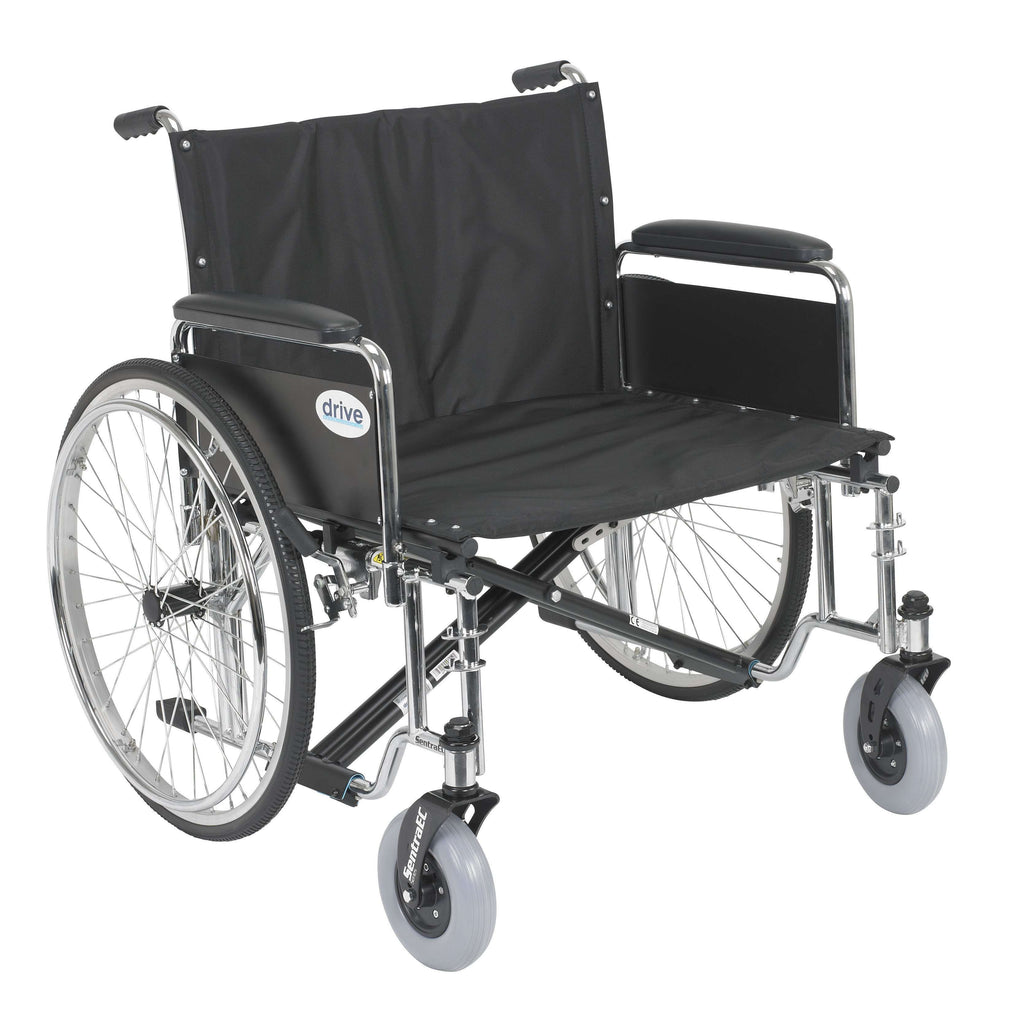 "Drive std26ecdfa Sentra EC Heavy Duty Extra Wide Wheelchair, Detachable Full Arms, 26"" Seat - Advanced Healthmart"