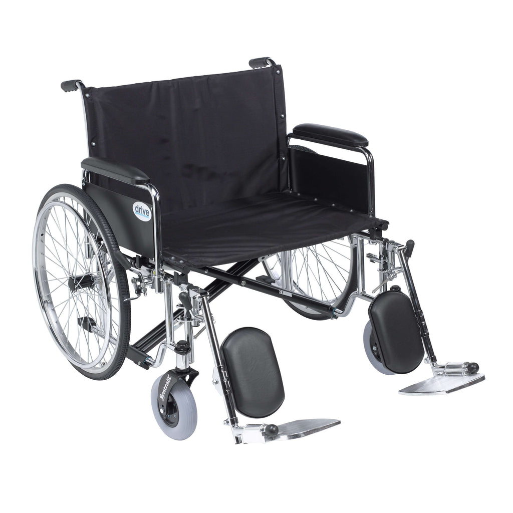 "Drive std28ecdfa-elr Sentra EC Heavy Duty Extra Wide Wheelchair, Detachable Full Arms, Elevating Leg Rests, 28"" Seat - Advanced Healthmart"