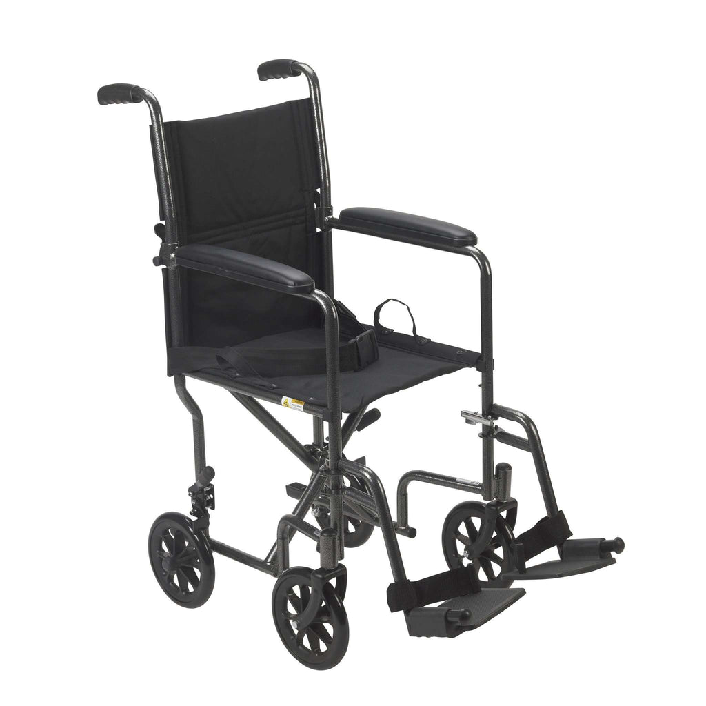 "Drive tr39e-sv Lightweight Steel Transport Wheelchair, Fixed Full Arms, 19"" Seat - Advanced Healthmart"