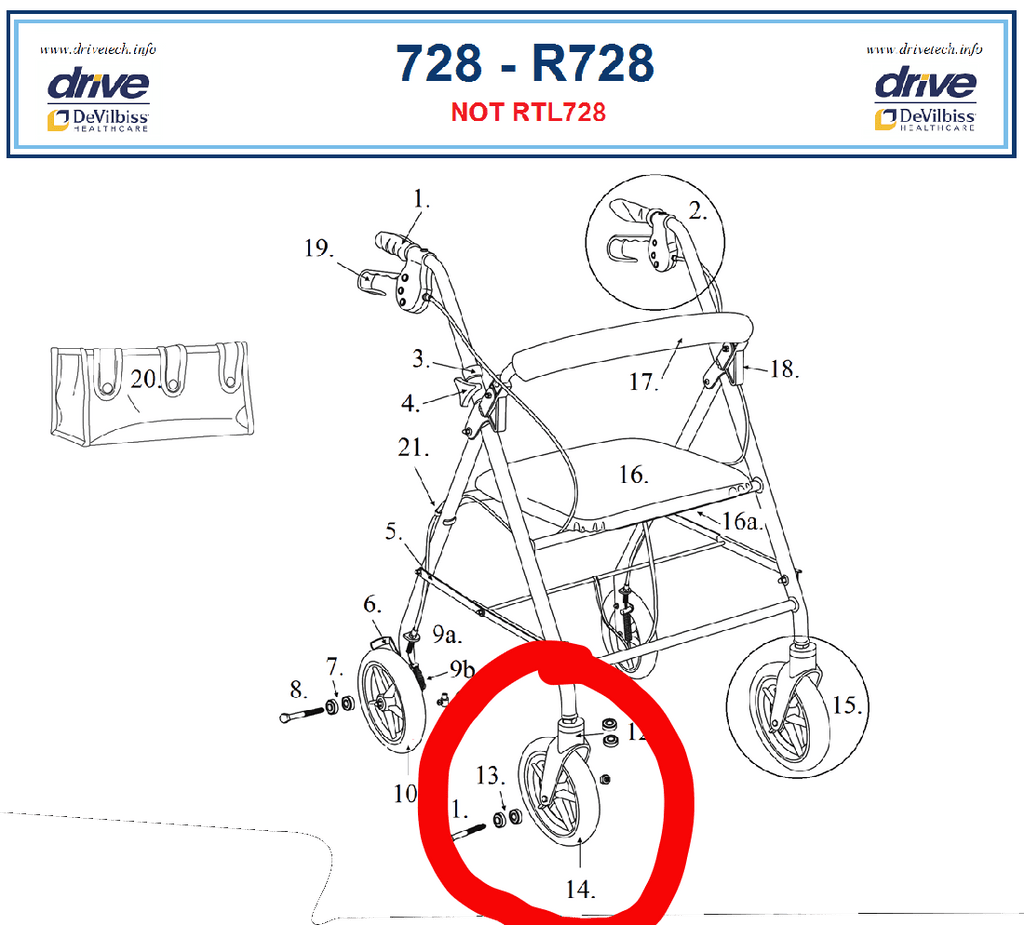 Drive R728 Series Rollator Front Wheel, 9501S72800-01