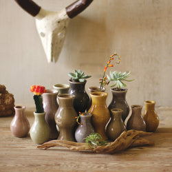 Crackled Ceramic Bud Vases