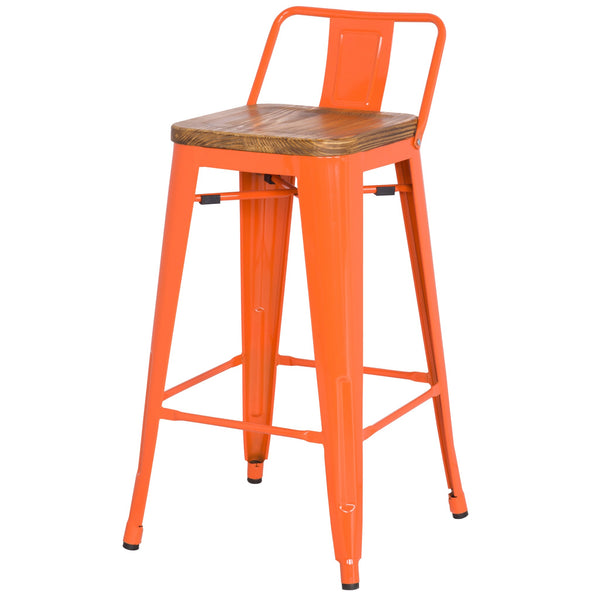 Metro Wood Seat Stool - Orange