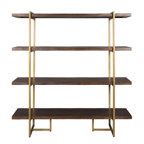 Dutchbone Class Shelf Acacia Veneer Brass Coated Steel