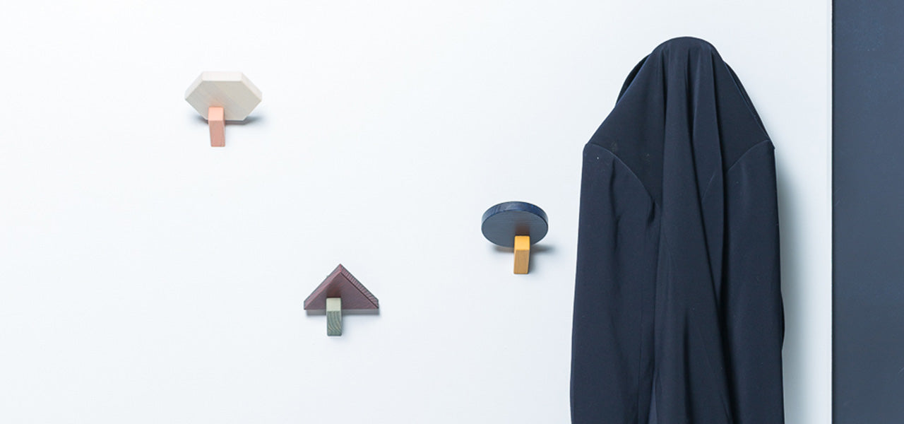 Dado - Colourful geometric wall mounted coat hooks by MOXON