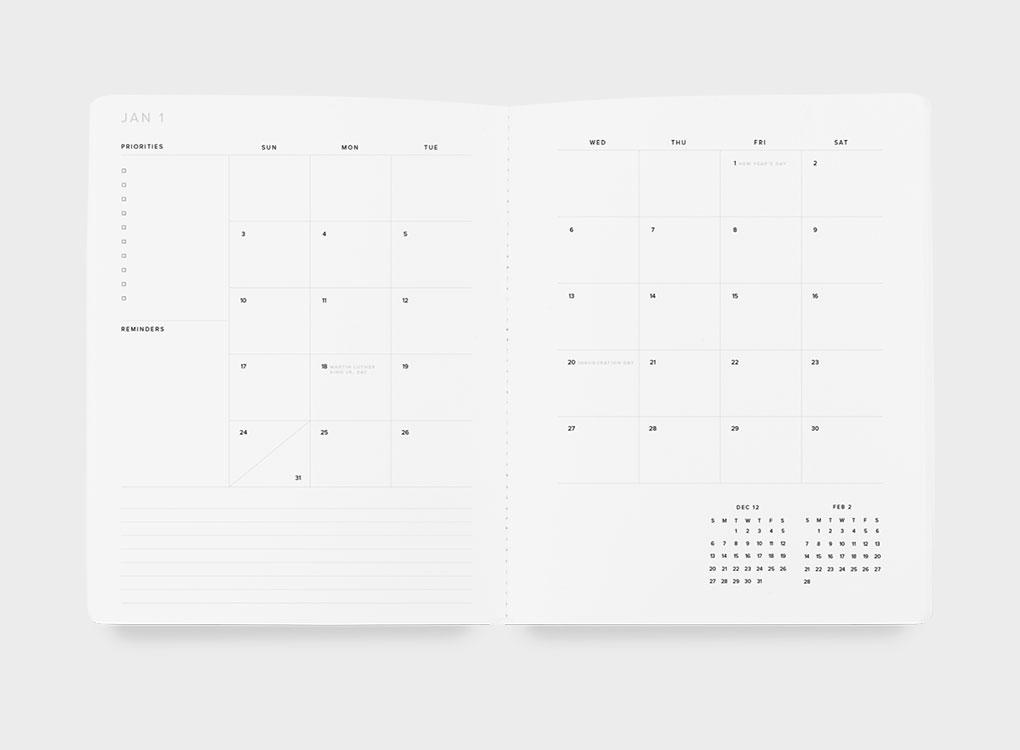 Appointed's Monthly Academic Planner. Academic year 2021/2022. 17-month planner. Page layout