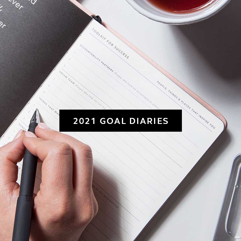 Hand writing 2021 Goals in a Migoals 2021 Goal Diary
