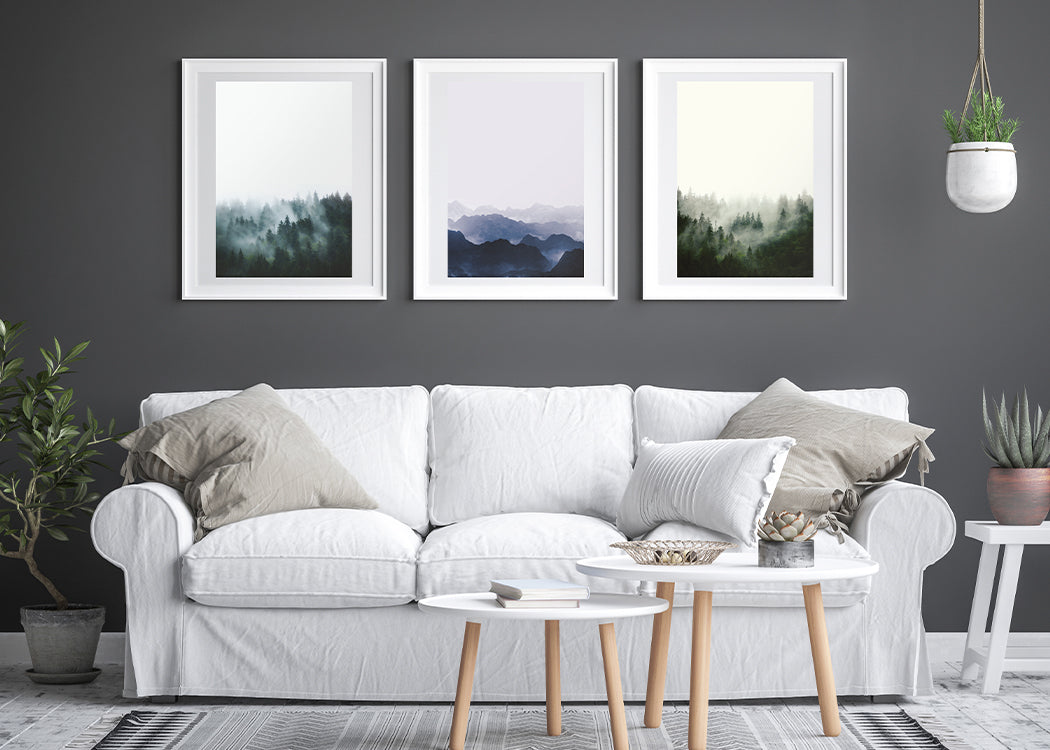 Framed Misty Trees Art Print With 3 Other Framed Prints And Sofa