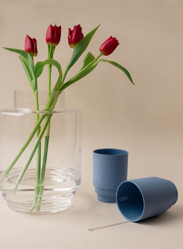 Monday Glass Vase Styled with Tulip Flowers - by Puik