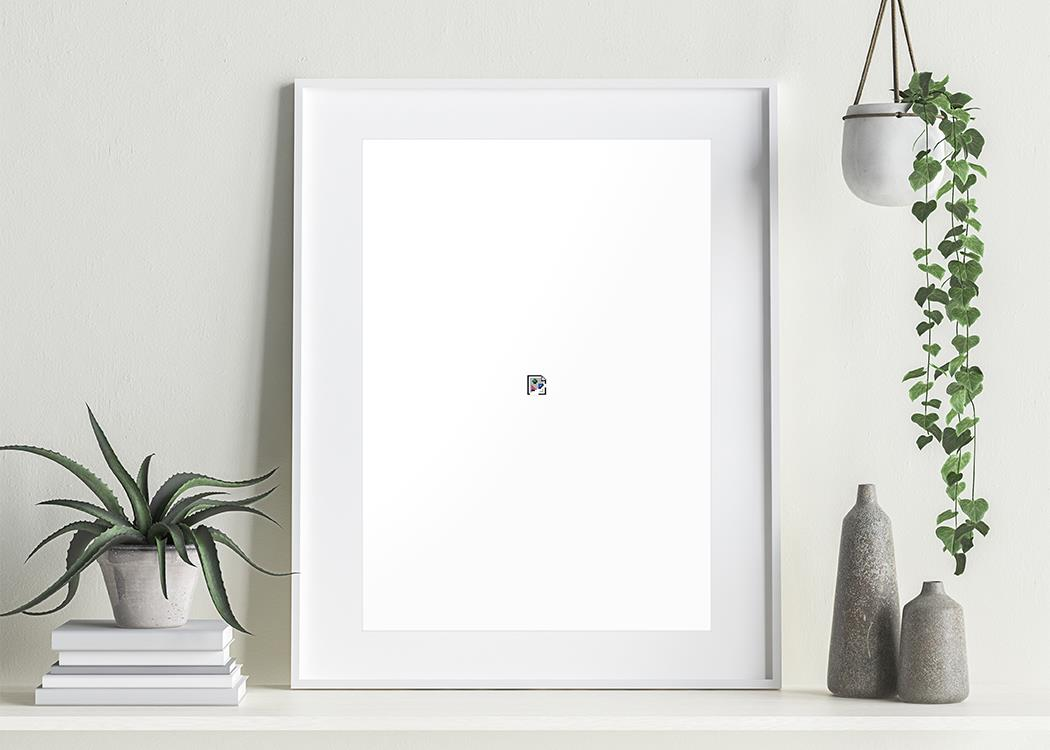 Framed Image Not Found Art Print On A Shelf With Plants