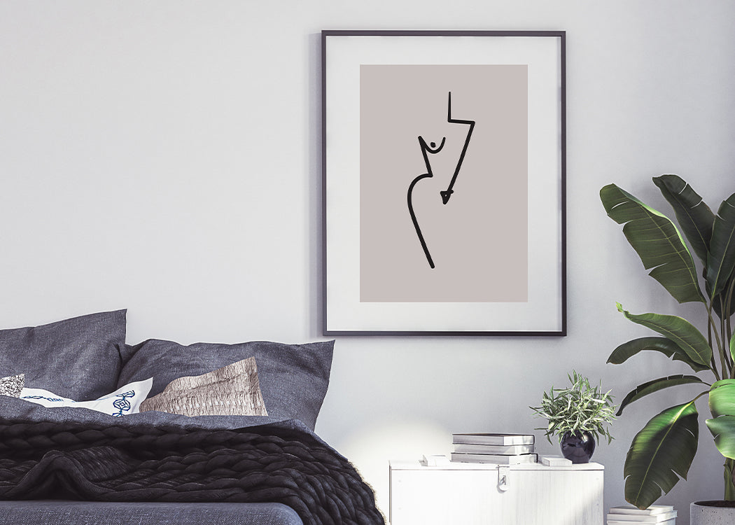Framed Abstract Nude Art Print In A Bedroom