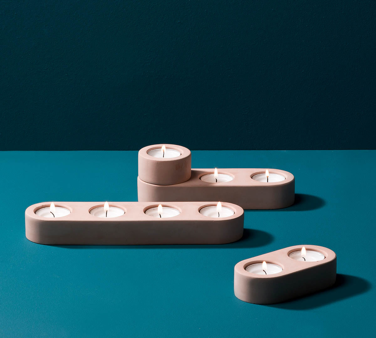 Blok Tealight Candle Holders in Pink Concrete
