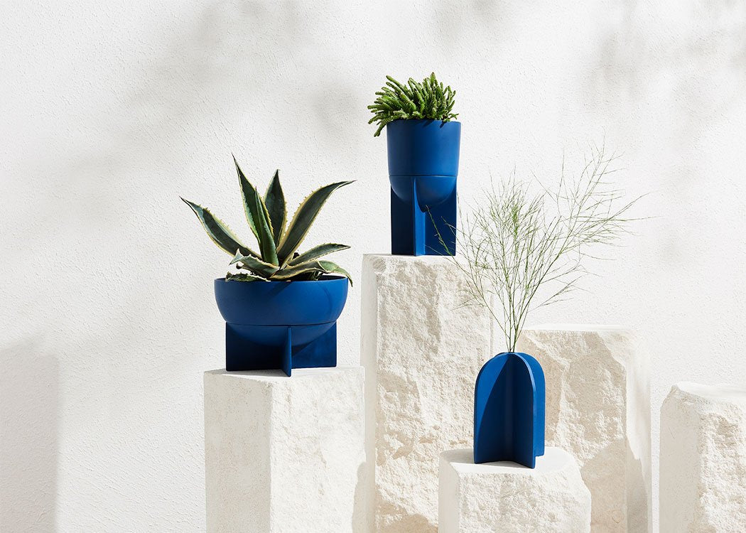 BLUE PLANTERS COLLECTION BY CAPRA DESIGNS. DIFFERENT COLOURS AND STYLES. WORLDWIDE SHIPPING. FREE UK SHIPPING