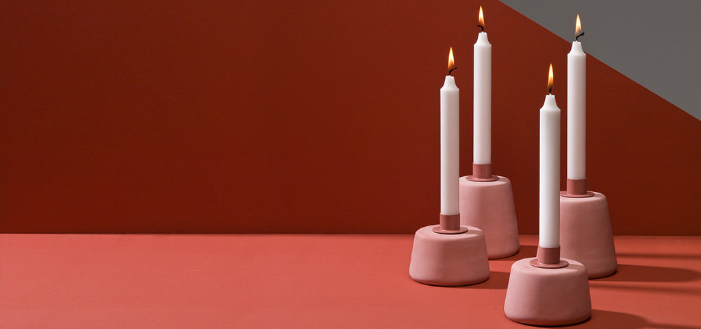 KORRIDOR CONE CONCRETE CANDLE HOLDER IN PINK