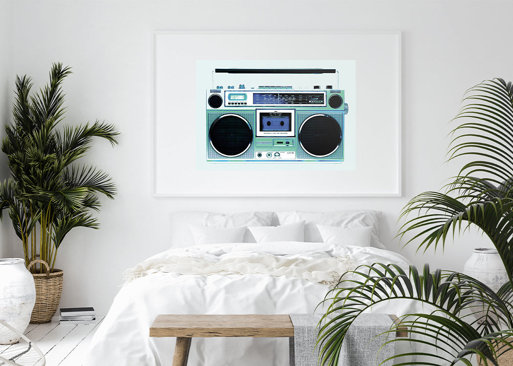 Framed Ghetto Blaster Art Print With White Bed And Plants