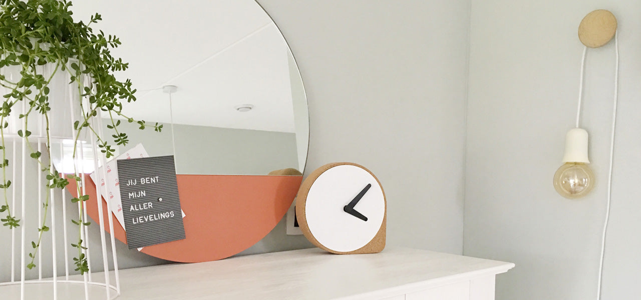 Contemporary Round Mirror with Magnetic Panel