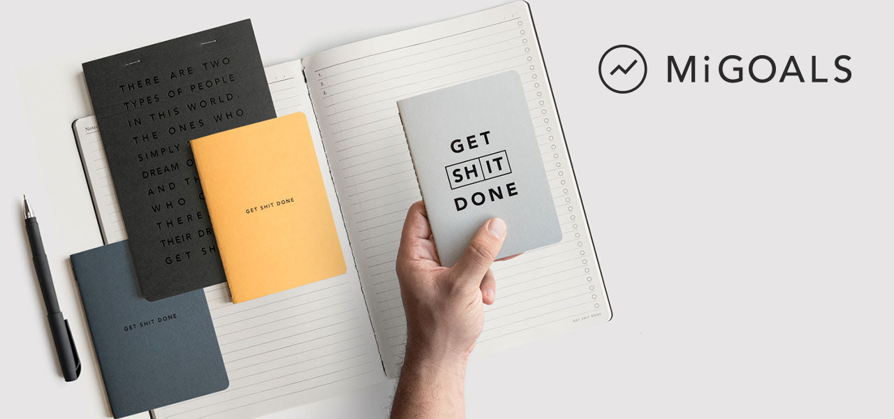 Mi Goals UK Goal books, desk pads and journals at MOXON London