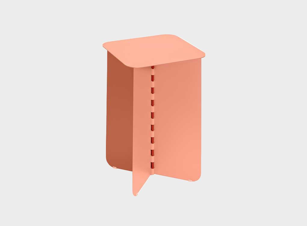 Coral coloured side table. Produced from Steel and Manufactuered in Poland this Dutch Design Side table is 30 x 30 x 35 cm.