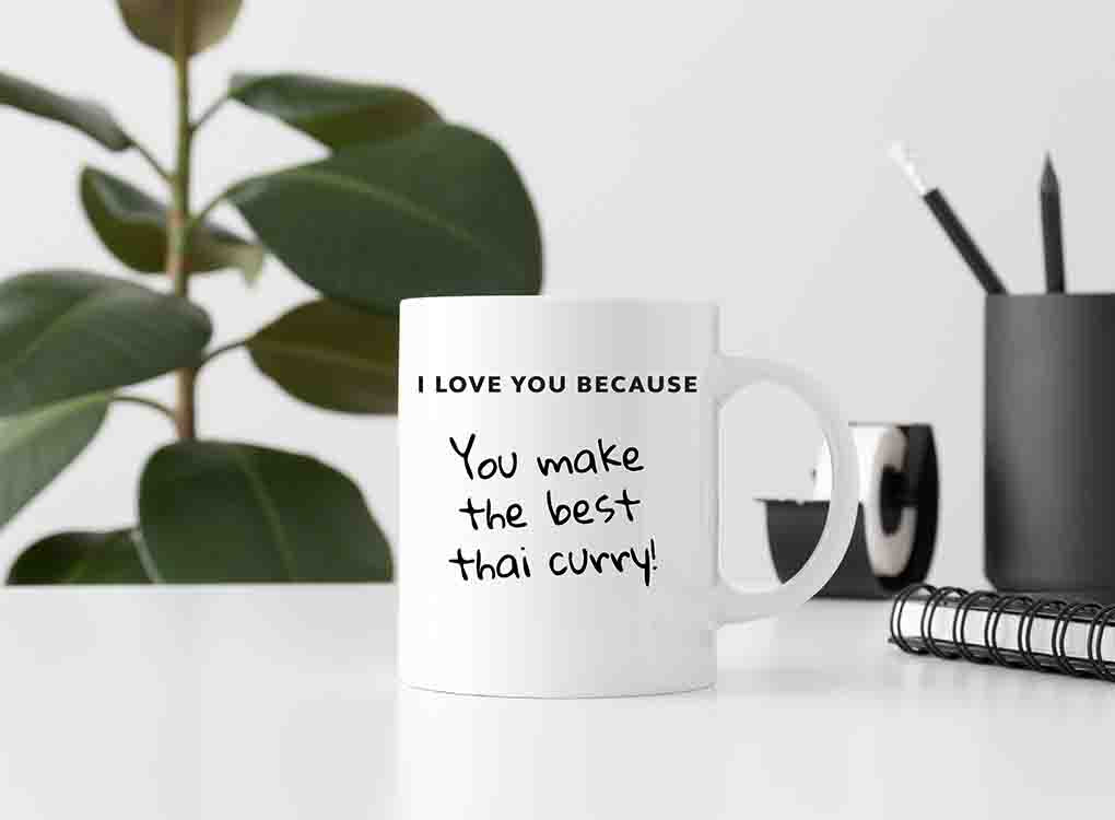 Pikkii i love you because you make the best thai curry mug and pen