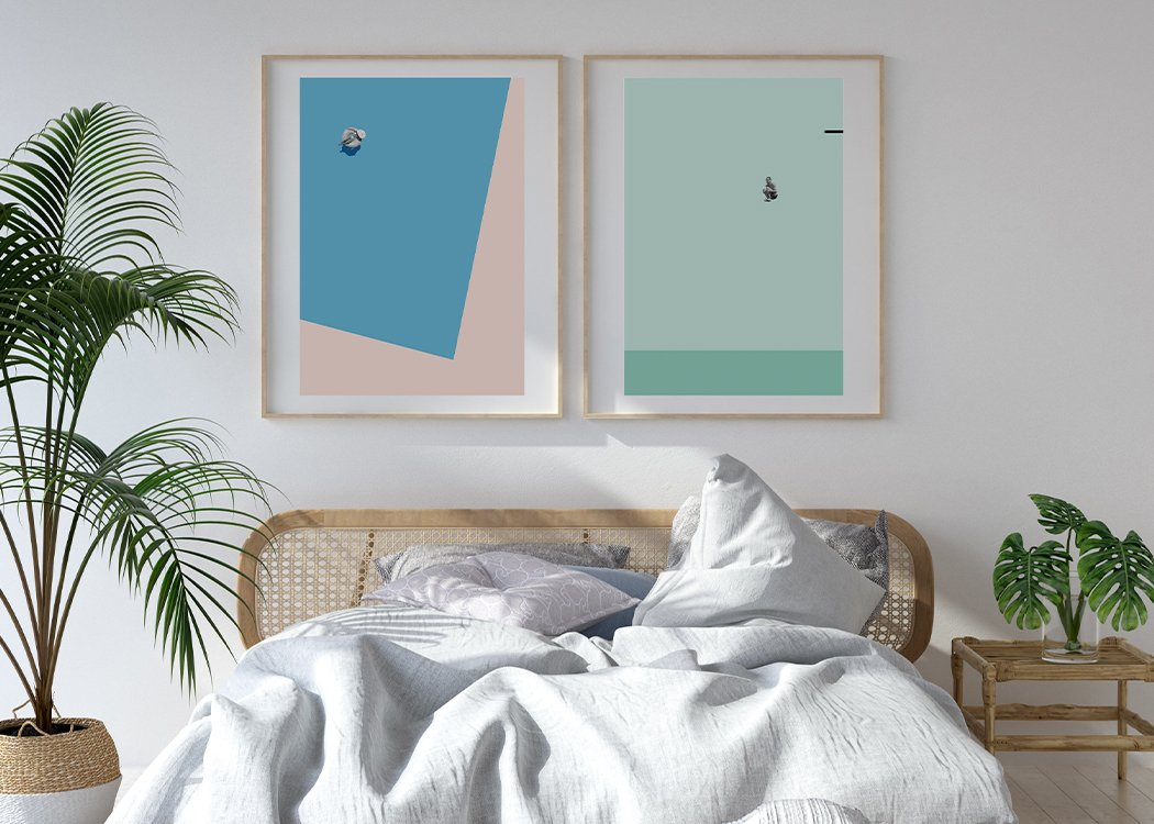 Framed Pool Float Art Print 1 Other Art Print With White Bed And Plants