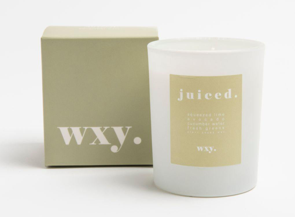 WXY cucumber lime and avocado vegan candle and green box