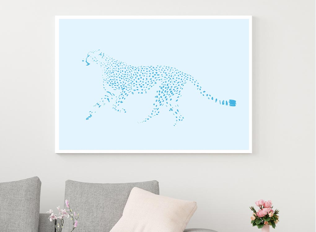 Blue Cheetah Fine Art Print by MOXON