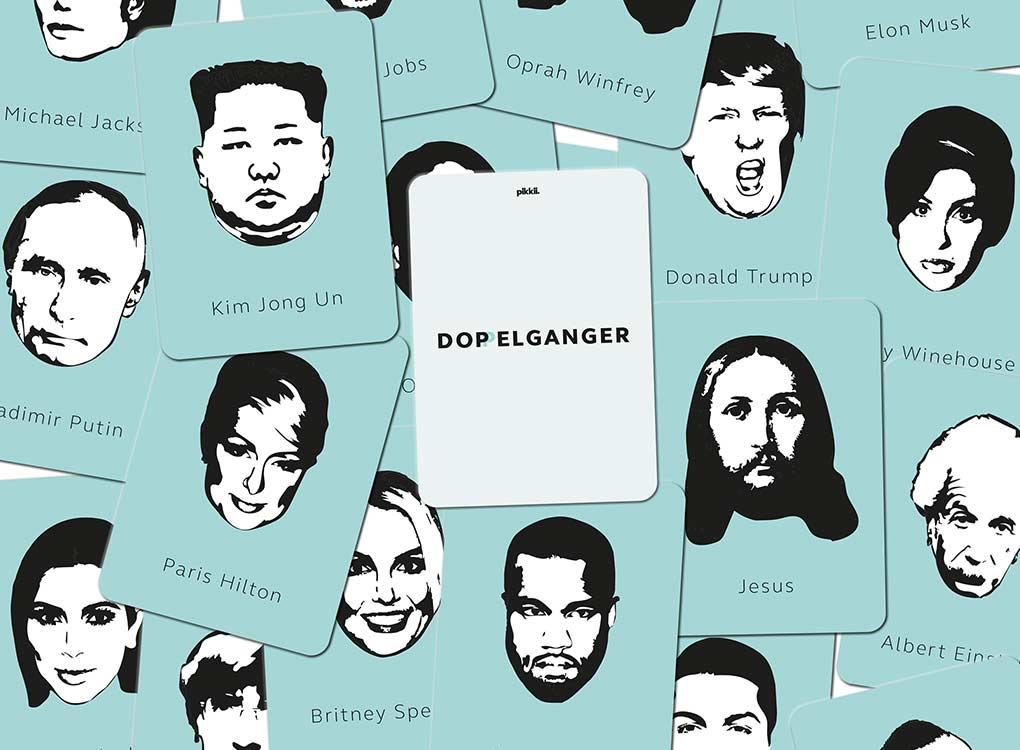 Pikkii doppelganger card game with faces of celebrities and political leaders like paris hilton and donald trump