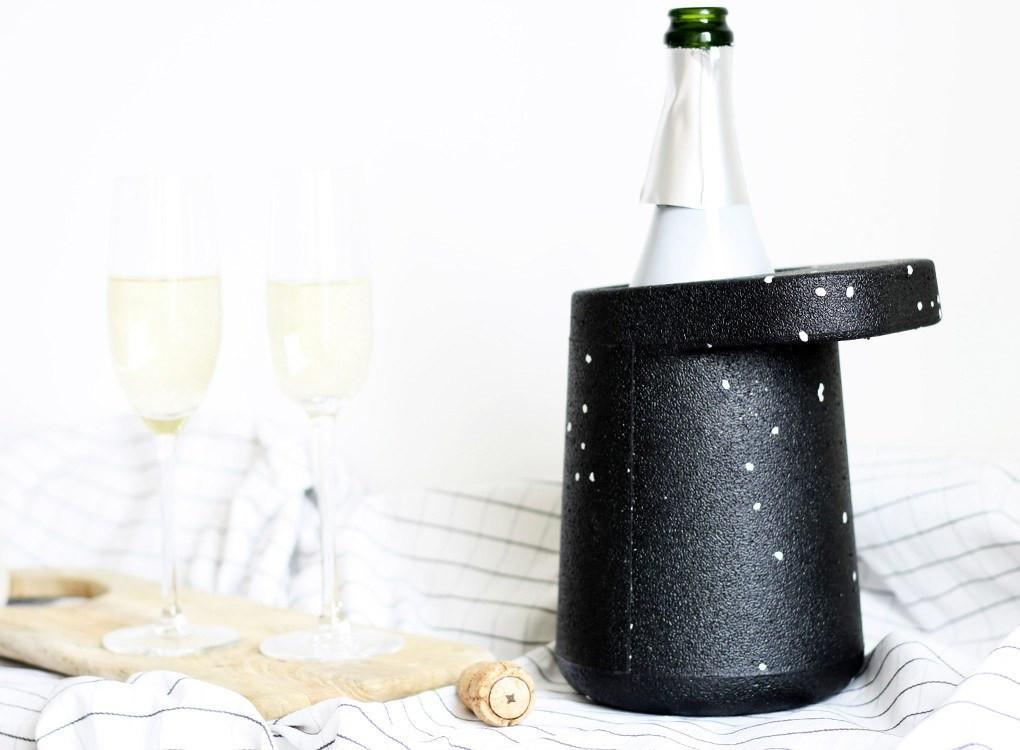 stylish white specks HAT WINE COOLER with wine bottle and glass