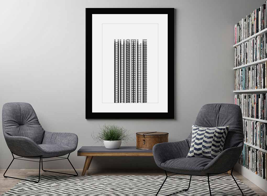 Hustle Fine Art Print Framed and Hung Above Coffee Table in Library