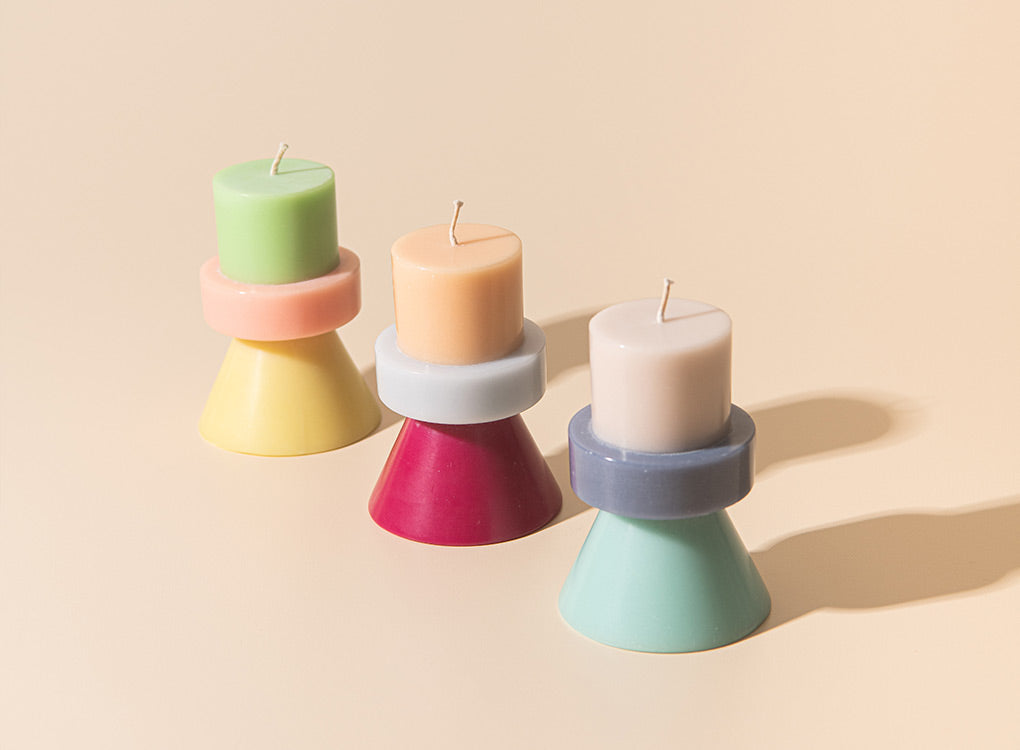 Three colours of the mini stack candle from yod & co