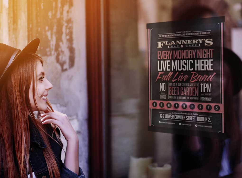 Magnetic Window Poster Frame with Live Music Poster