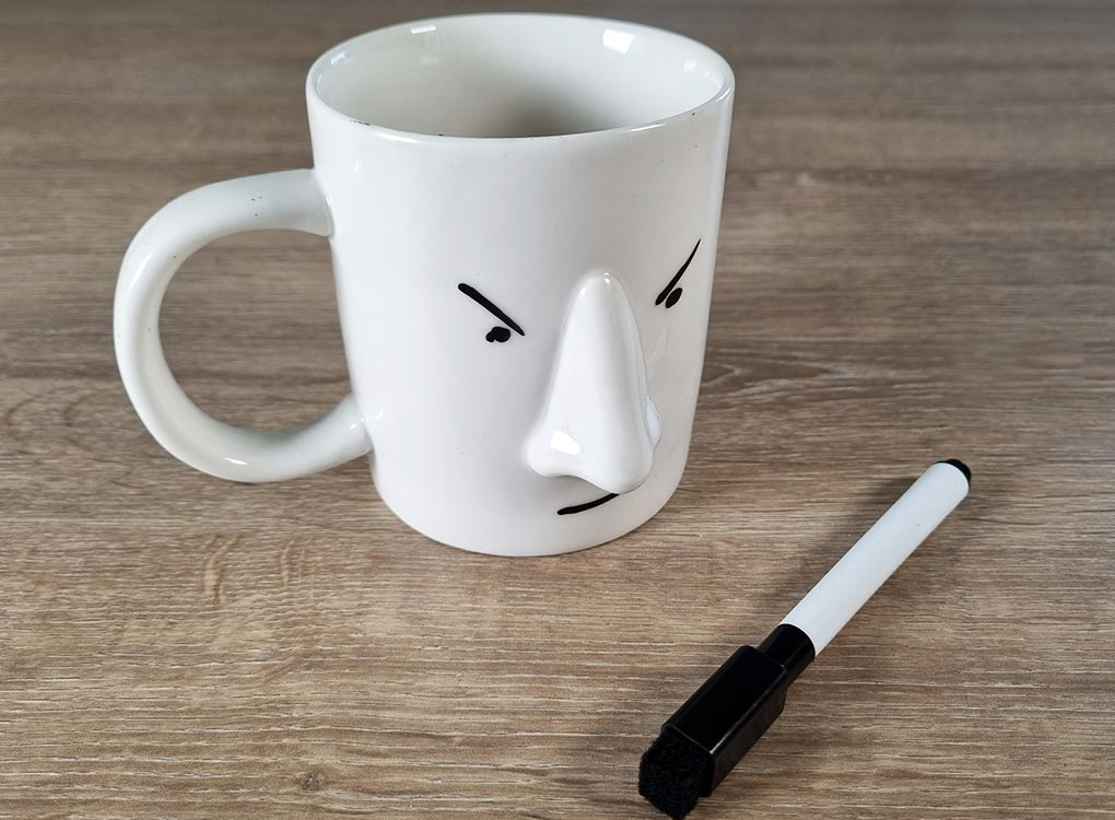 Pikkii my mood today mug with an angry face drawn on