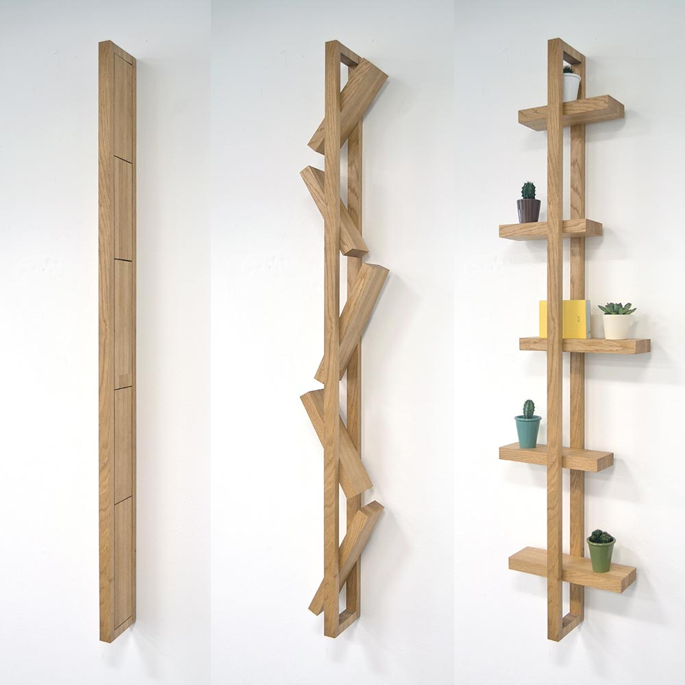 Flat Packed Fold Out Oak Shelf Design