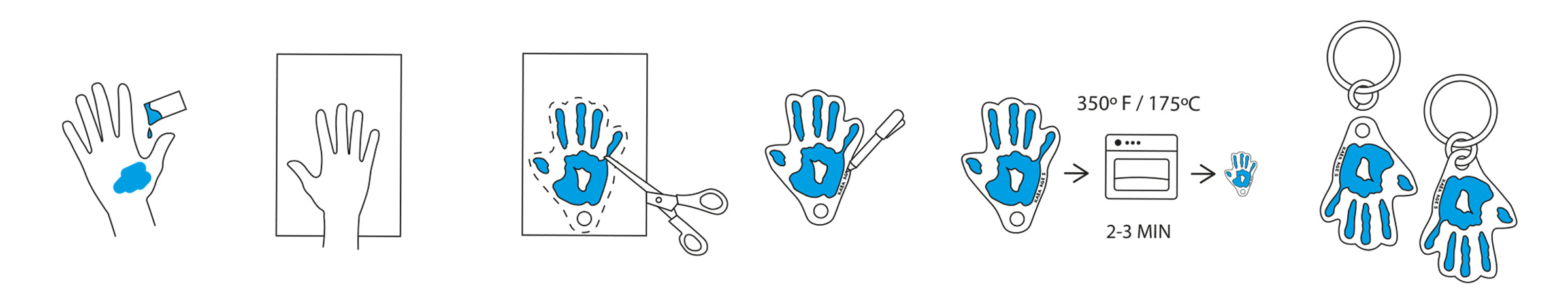 Shrinking Handprint Keyring Step by Step Instructions by Pikkii