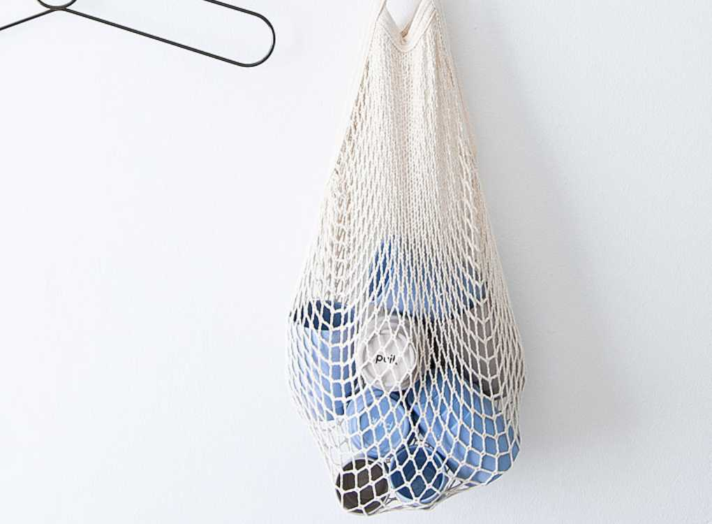 Blue and Grey Ceramic Puik Coffee cups in a net bag